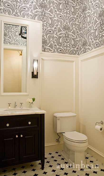 LOVE THIS MOULDING IDEA with the wallpaper on top. Adds interest and then you wo…