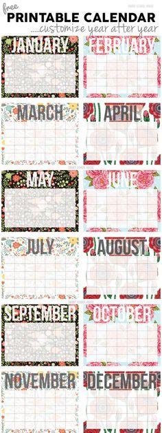 Calendario gratuito! Imprimir y personalizar, año tras año - Free Calendar! Print and customize it year after year.