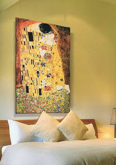 Our favourite reproduction of The Kiss tapestry woven in the richest, fullest weave of Gustav Klimt tapestries. This dramatic Belgian tapestry is available in three sizes, from The Tapestry House.