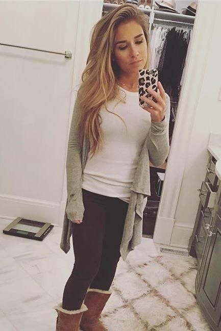 Jessie James Decker wearing Ugg Bailey Button Boots and Kittenish Cheetah Iphone Case