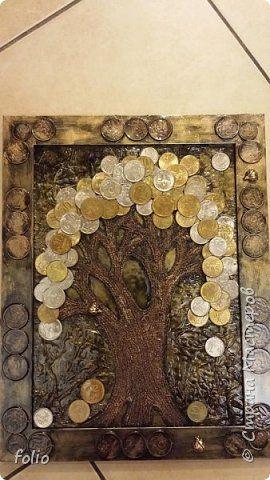 Картина панно рисунок День рождения Аппликация Денежное дерево Монета фото 1