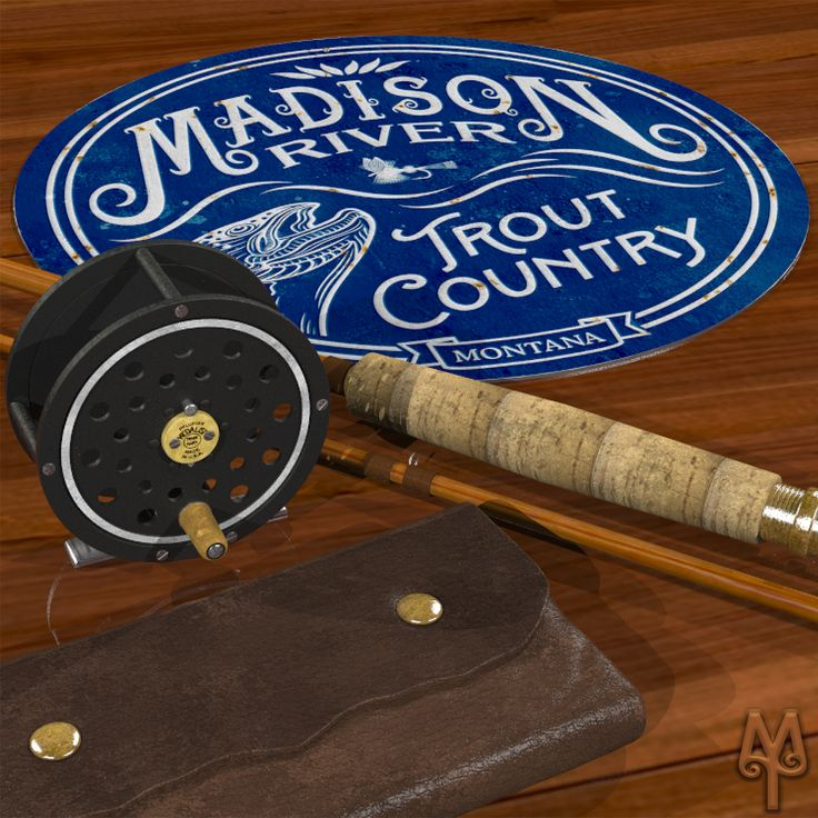 Add this vintage, decorative, metal wall sign to your man-cave collection; and, show everyone that you fished the Madison River in Montana's Big Sky Country.  A decorative wall sign measuring 14 inches in diameter. Made using heavy gauge American steel and a process known as sublimation, where the image is baked into a powder coating for a durable and long lasting finish.  one 3/16 inch top mounting hole  Designed in Montana. Made in the USA.