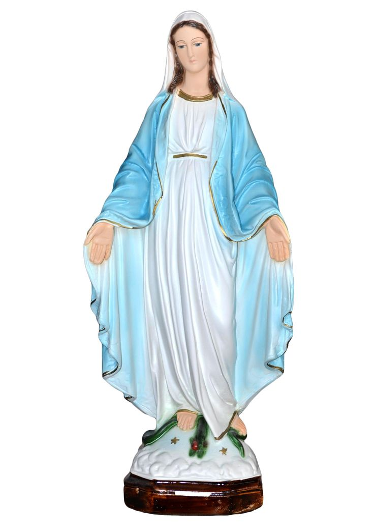 Our Lady of Grace statue height 47 cm. in resin, hand painted with acrylic colors. Made in Italy