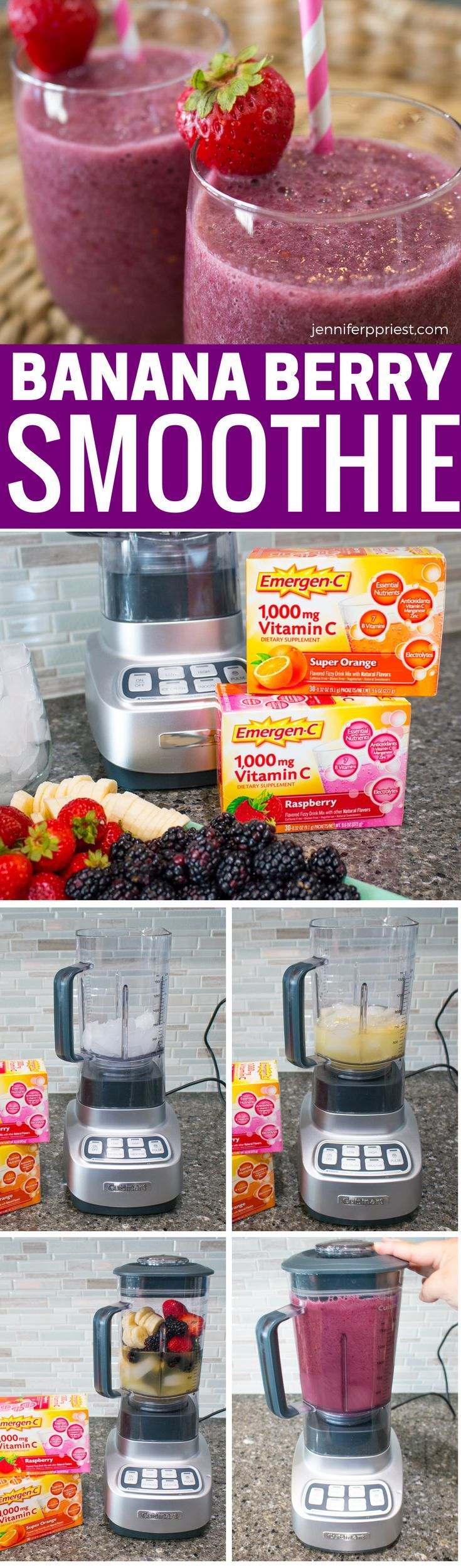 Delicious banana berry smoothie recipe with extra nutrients from Emergen-C - get the recipe for these dairy free, vegetarian, paleo-friendly,  gluten free smoothies from jenniferppriest.com