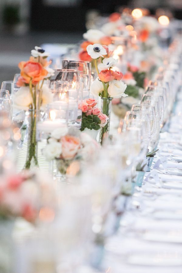 reception table, floating candles, white anemone flower, peonies, roses, succulents
