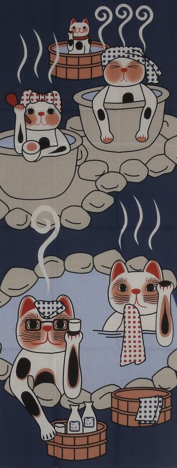 Maneki Neko Family Hot Spring Vacation Motif by kyotocollection, $16.00