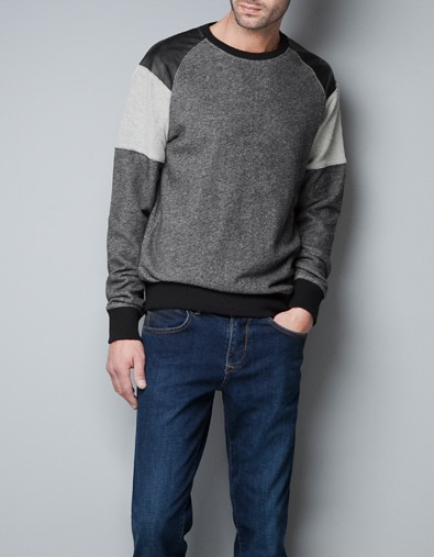 SWEATSHIRT WITH CONTRASTING LEATHER DETAILING - T-shirts - Man - ZARA United States