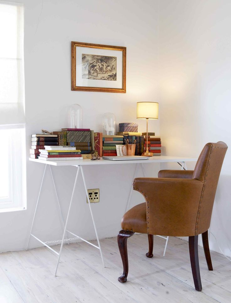 The study - ceramics by Jonathan Adler and copper lamp from Habitat. Interiors by Jean-Pierre de la Chaumette.