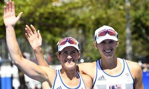 Katherine Grainger, left, and Vicky Thornley celebrate silver at the end of the women's double sculls in Rio. Photograph: Damien Meyer/AFP/Getty Images