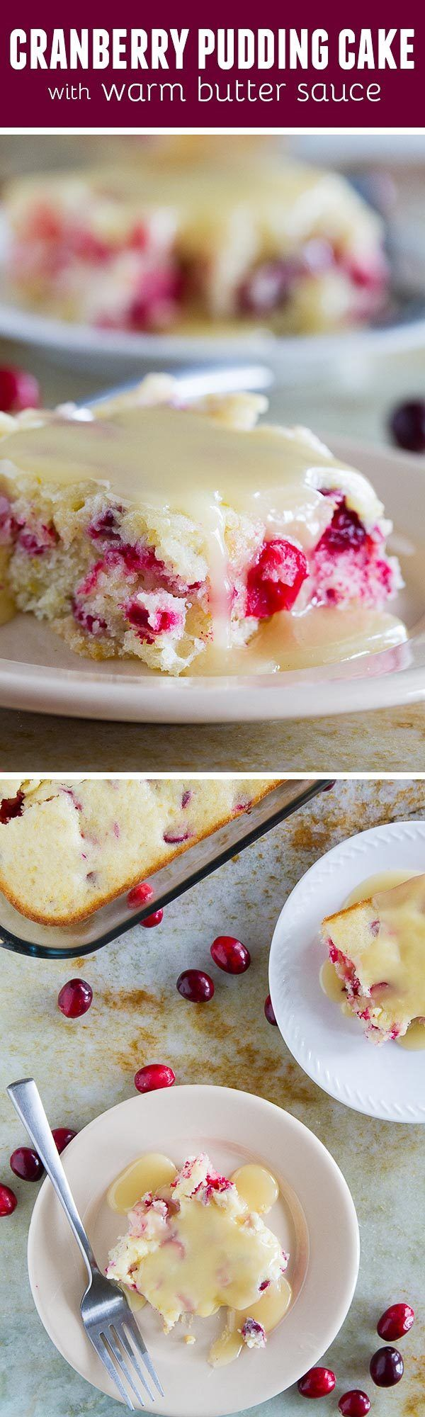 Simple and rustic, this Cranberry Pudding Cake is a homestyle cake loaded with fresh cranberries and a hint of orange. Top with a warm butter sauce for the ultimate holiday cake.: