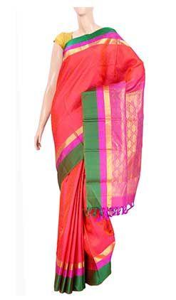 Pure kanchipuram handloom silksaree with half fine zari