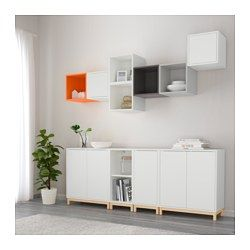 IKEA - EKET, Storage combination with legs, white, , Hide or display your things by combining open and closed storage.The drawers and doors have integrated push-openers, so you don't need handles or knobs and can open them with just a light push.