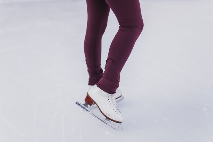 Burgundy thermal spring leggings for stay active including figure skating