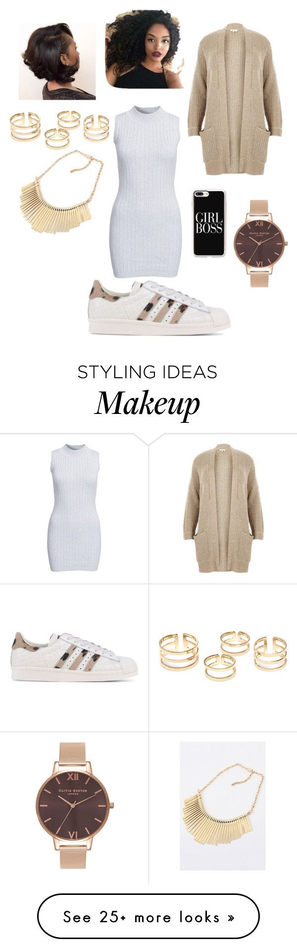 """""""Jan.19,2017✊"""" by sqkia on Polyvore featuring Glamorous, adidas Originals, River Island, Casetify and Olivia Burton"""