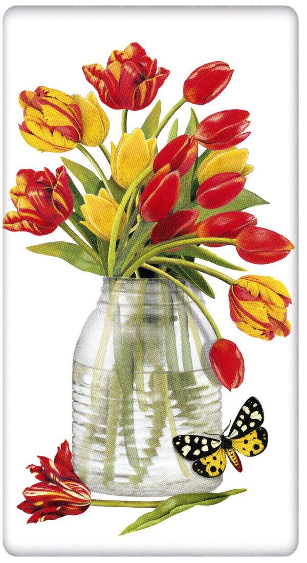 Jar of Spring Tulips 100% Cotton Flour Sack Dish Towel Tea Towel
