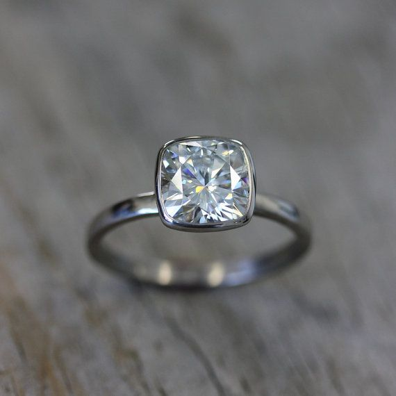 Engagement Ring with Moissanite and 14k Palladium White Gold, Solitaire 8mm Cushion Cut Gemstone Ring