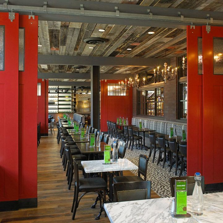 Decorative, built in room dividers can help section off private parties or functions when needed. Wilde & Greene restaurant & natural market by GH+A Design, Skokie Illinois store design hotels and restaurants