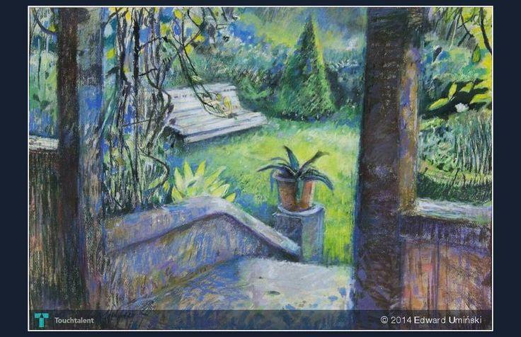 Biała ławka | 48 x 69 cm | sucha pastela