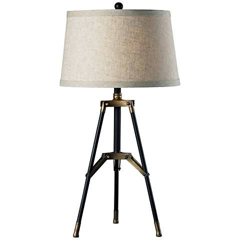 Perfect Dimond Black And Gold Functional Tripod Table Lamp