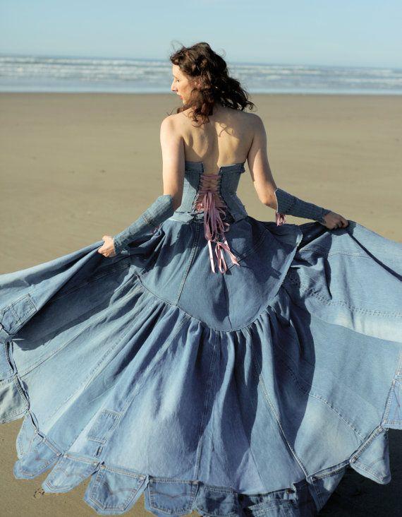 Sur mesure robe de bal de Jean Denim par SageOfTheTrades sur Etsy