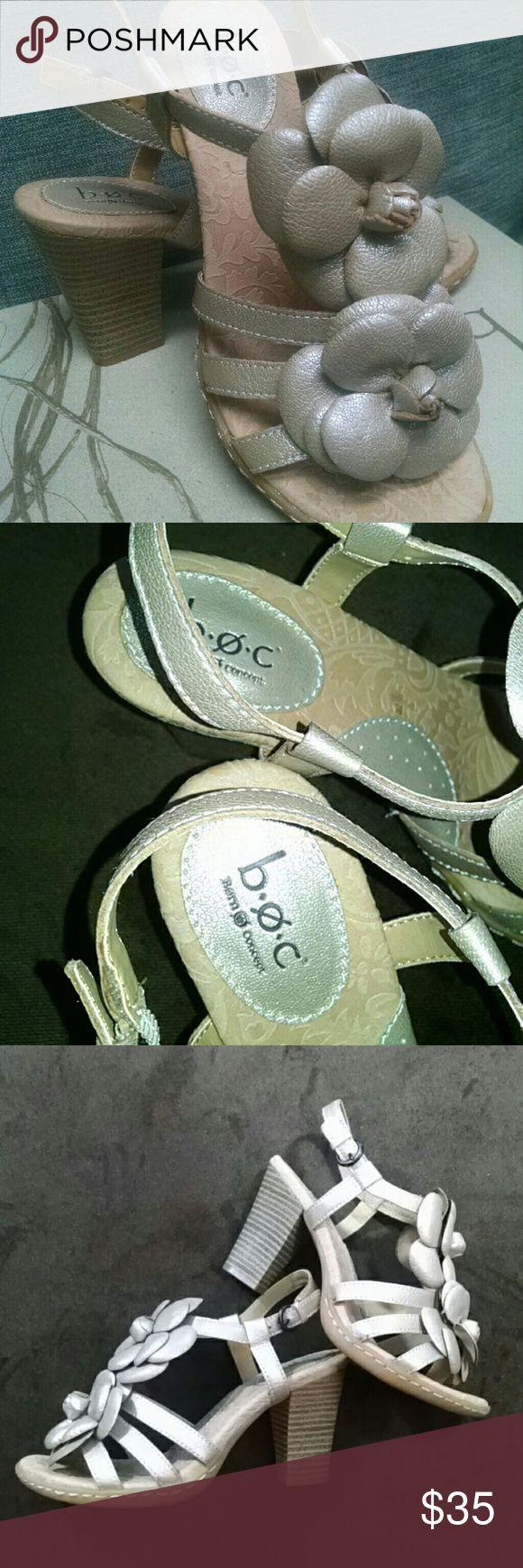 "B.O.C  Born Concept Open Toe Sandal/Floral Accent Open Toe Sandal Color:  Champagne Size: 6 M/W, 3 1/2"" Heel BEAUTIFUL SANDAL,  Worn 1X B.O.C. Born Concept Shoes Sandals"