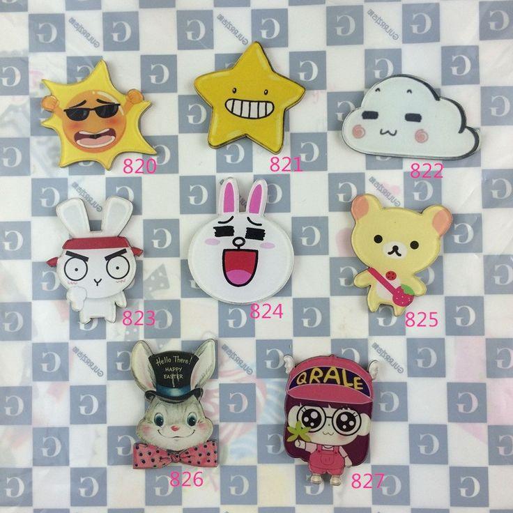 Free shipping 2017 New arrival Acrylic HARAJUKU Badge Animal Rabbit sun Brooches Clip Scarf Epaulettes Hijab Pins For Girl xz102
