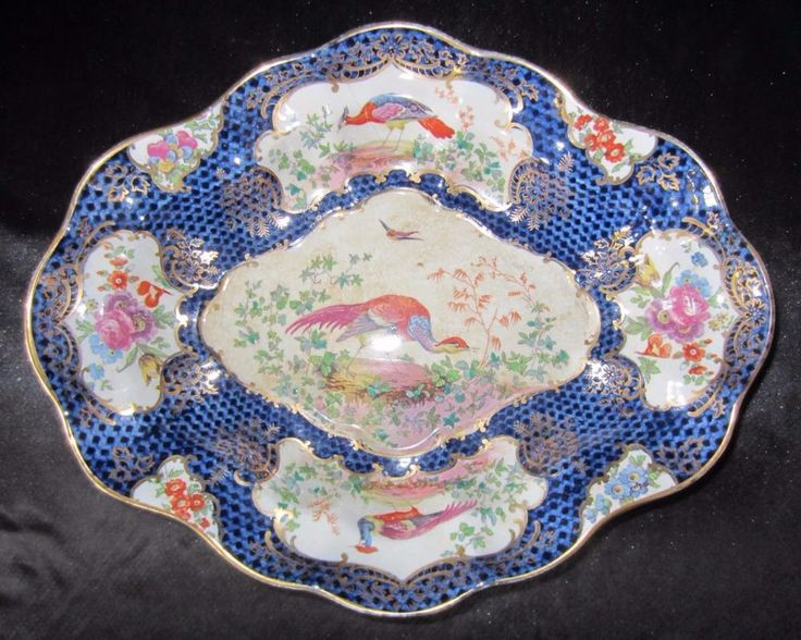 ANTIQUE BOOTHS SILICON CHINA SCALE BLUE EXOTIC BIRD SCALLOPED EDGE DISH