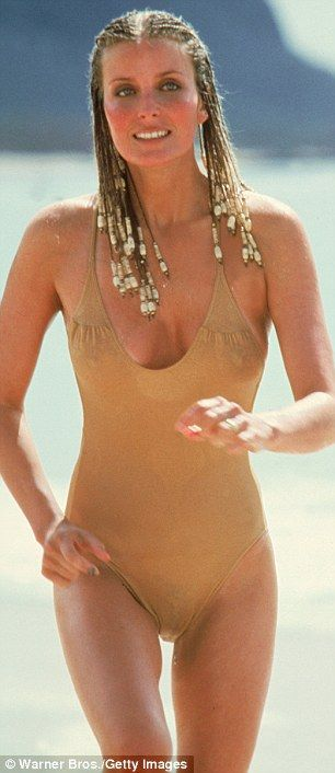 Iconic: Bo became a global sex symbol thanks to her role in the Blake Edwards 1979 film 10, and in particular the scene (left) where she runs along a beach in cornrows and a flesh-colored swimsuit