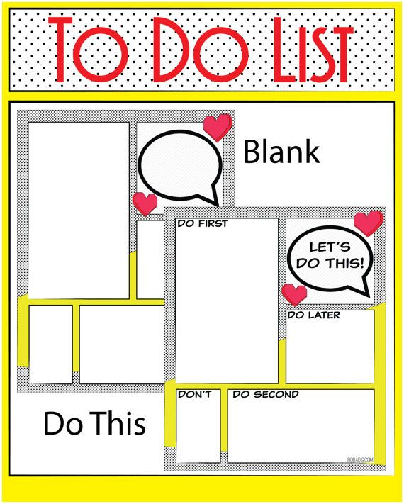 Comic book style to do list, organizer , planner. Add a little fun to your day…
