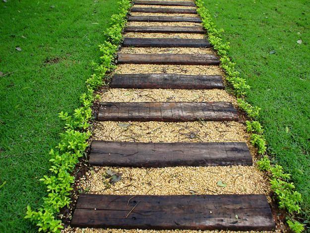 ideias caminhos jardim:caminho de dormentes: Home, Ideas, Side Of, Gardening, Way, Garden