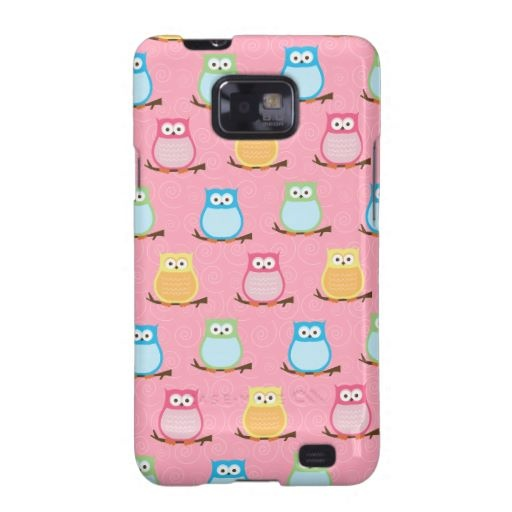 Trendy Owls Custom Android Phone Case - Light Pink Samsung Galaxy Cases
