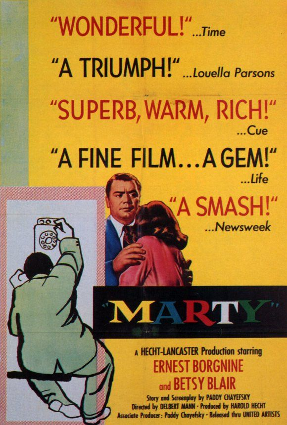 Critics Consensus: Scriptwriter Paddy Chayefsky's solid dialogue is bolstered by strong performances from Ernest Borgnine and Betsy Blair in this appealingly low-key character study.
