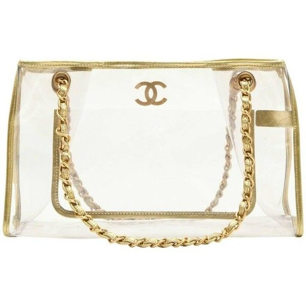 Preowned Chanel Vintage Transparent Bag (45.090.540 VND) ❤ liked on Polyvore featuring bags, handbags, shoulder bags, multiple, leather purse, white leather handbags, white leather shoulder bag, white handbag and chanel shoulder bag