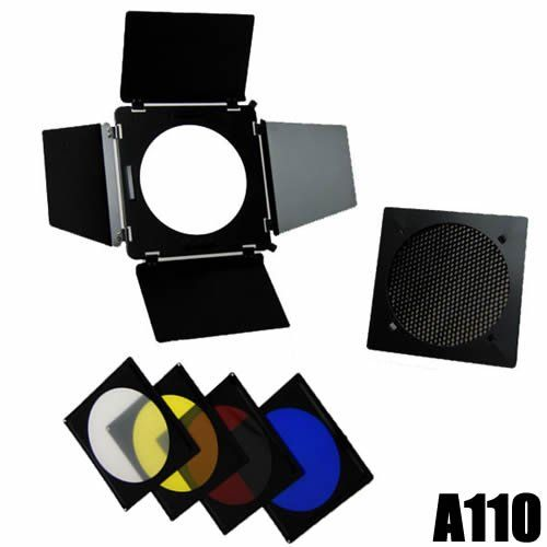 DynaSun A110 Professional Kit Barn Door with Honeycomb Grid and 4x Colour Filter for Flash Elinchrom Bowens