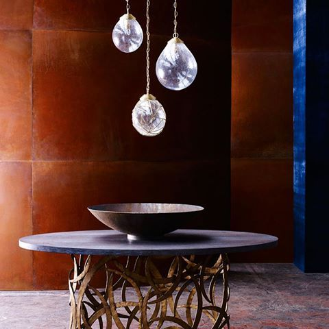 """ELEMENTAL. """"Natural architecture combined with patterns and structures borrowed from nature. Flowing water. An insect's cocoon. Water meets the hot rust tones of earth and fire"""". These translations are amazing! #inspireme #interiordetails #interiorarchitecture #interiordesign #designideas #ethnic #nature #africa #water #crystals #naturalarchitecture #luxuryhomes #luxuryinterior #luxurylifestyle #texture #metallica #rich #warm #rust #hot #earth #fire"""