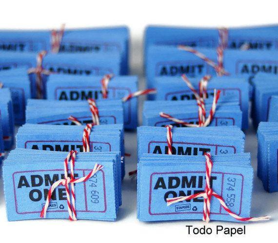 Admit one tickets . scrapbook embellishment . numbered . cobalt blue . cinema . movies . theatre . carnival . set of 50 . scrapbook idea. $2.00, via Etsy.