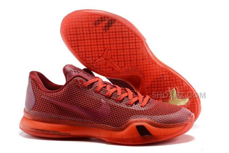 Mens New Nike Kobe 10 All Red Basketball Shoes