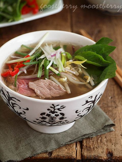 Pho (Vietnamese Beef Noodle Stew) | Definitely the best recipe I have run into so far. Actually, the broth preparation sounds like a Russian dish (beef/chicken jelly thingy my mom makes...)