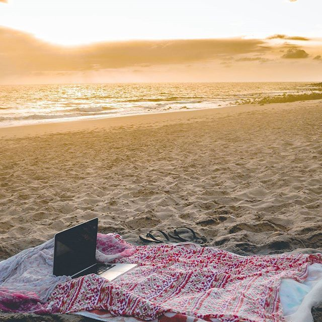 Grateful for the opportunities available to us today. Laptop + hotspot + beach towel = Makeshift office (until my battery dies).