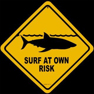 Shark Warning Sign Surf At Own Risk Surfboard Wall Art Home Decor