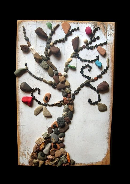 Recycle Reuse Renew Mother Earth Projects: Rock Art work       Can cut wood platform to glue rocks to and place in between stepping stones