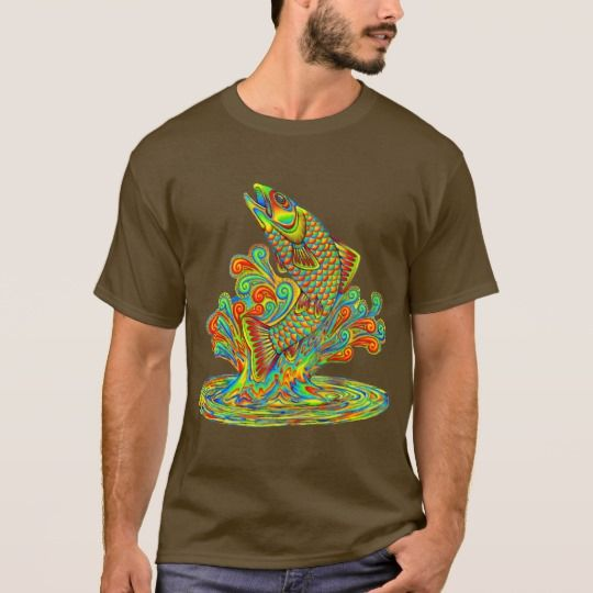 Psychedelic Rainbow Trout Cutout T-Shirt