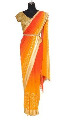 Love the idea of a gold belt with all the bridesmaid saress.  Orange Shaded Saree   Strandofsilk.com - Indian Designers`