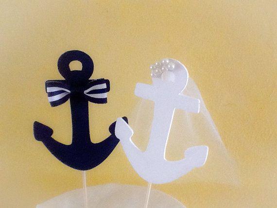 Strand Hochzeitstorte Topper-Anker paar Cake von NauticalWeddings