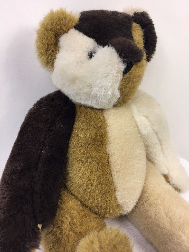 Vermont Teddy Bear Misfit Multi Brown Tan White Jointed Plush Stuffed Animal USA #VermontTeddyBear #AllOccasion