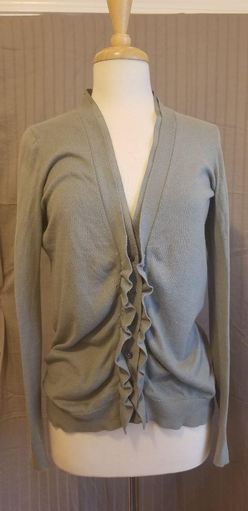 749db604d4f Ann Taylor LOFT - Slate Green Button Down Front Cardigan Sweater ...