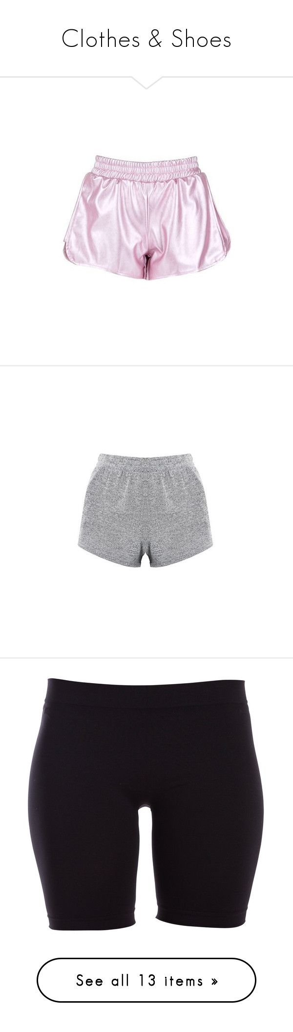 """""""Clothes & Shoes"""" by stxxlight ❤ liked on Polyvore featuring shorts, bottoms, pants, pink, faux-leather shorts, pink shorts, vegan leather shorts, leather look shorts, activewear and activewear shorts"""