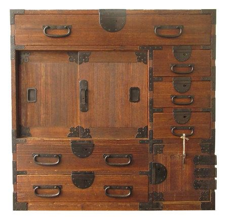 "Antique Japanese Kiri Choba Tansu Antique Japanese small choba tansu (merchant chest), made with kiri wood (paulownia) in a original finish. Multi sized drawers with locks for safe storage, shelved interior with sliding doors, small safe box with working key included. Meiji period c1870 Size: 31.5"" H, 31.5"" W, 16.5"" D"