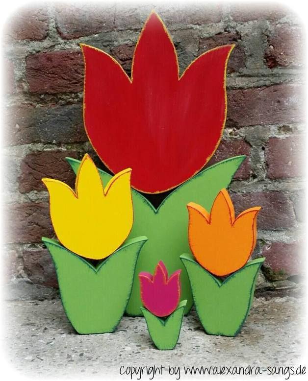 Deko-Objekte - 4 Tulpen, Holz, Tulpe, Blume, selbststehend - ein Designerstück von Alexandra-Sangs bei DaWanda