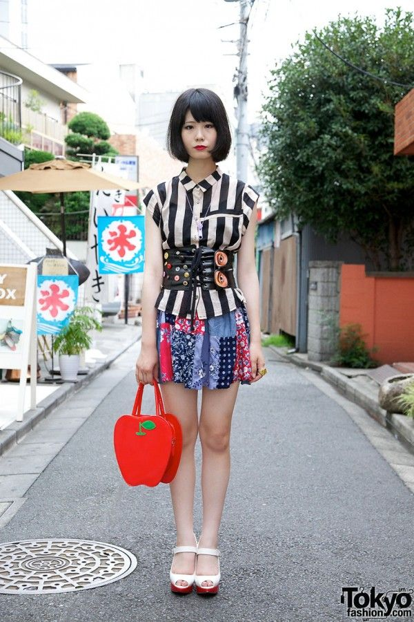 So cute! Harajuku Girl's Red Lipstick, Bob Hairstyle, Patchwork Skirt & Corset Belt